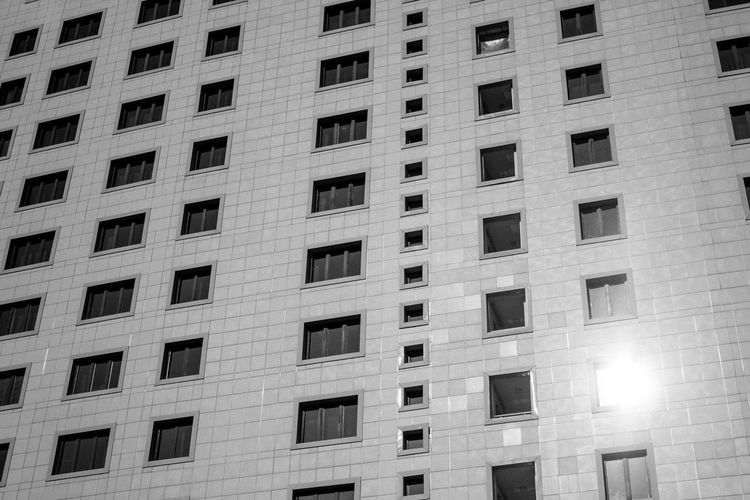 Wall and windows Bling Light Wall Architecture Background Backgrounds Blackandwhite Building Building Exterior Built Structure City Day Full Frame Light Leak Low Angle View Modern No People Outdoors Wall And Window Window Windows