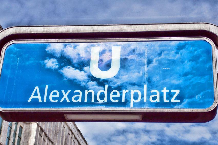 Text Communication Western Script Cloud - Sky Sign Day No People Mode Of Transportation Transportation Information Sign Outdoors Ubahn Station Alexanderplatz
