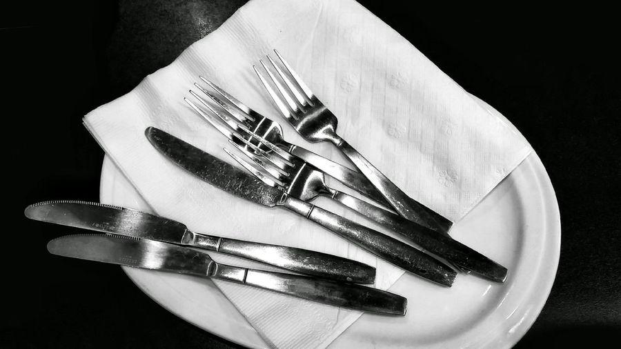 Close-up of silverware cutlery