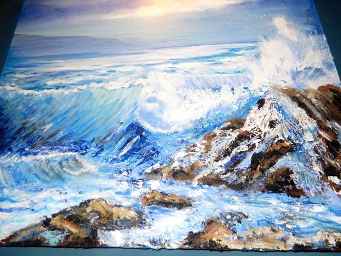All My Own Work Painting Oil Painting Beauty In Nature Nature Scenics Tranquil Scene Sea No People Tranquility Outdoors Water Cloud - Sky Day Cold Temperature Snow Sky Winter Landscape Mountain Horizon Over Water Wave