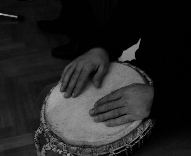 Blackandwhite Blackandwhite Photography Casual Clothing Close-up Hand Hands At Work Holding Leisure Activity Lifestyles Man Music Musician Part Of Percussionist Person Rithm Selective Focus Tamburello