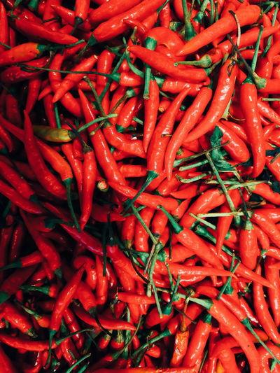พริกแดง Chile Redhotchilipeppers Red Spice Food Full Frame Abundance Food And Drink Freshness No People Vegetable Healthy Eating Backgrounds Outdoors Close-up Day Nature