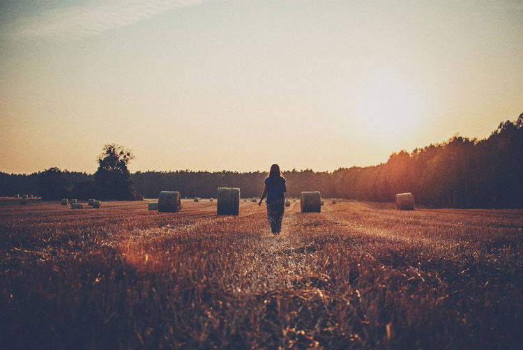 Rear view of woman on agricultural field against sky during sunset