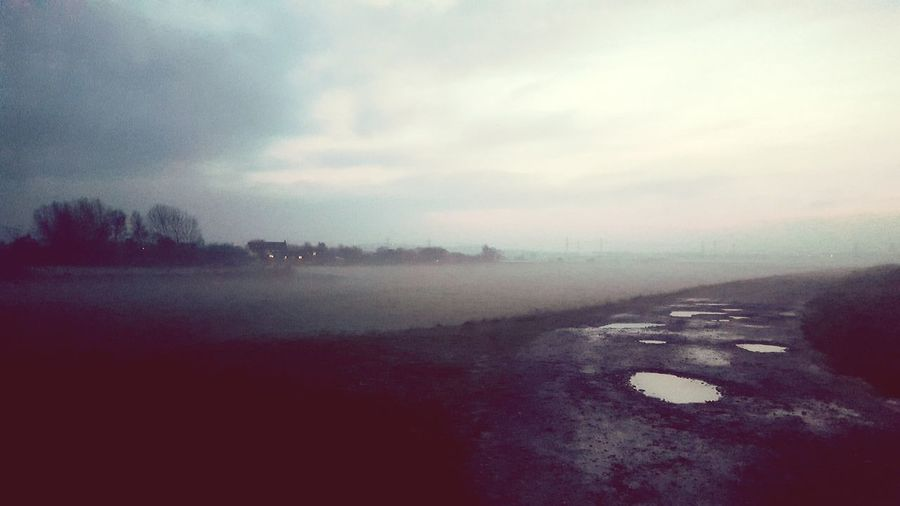 Nature Sky No People Cloud - Sky Beauty In Nature Outdoors Scenics Twilight Mist Fog Landscape Coast Path Winter Puddles Puddle Path Walking Around The Great Outdoors - 2017 EyeEm Awards