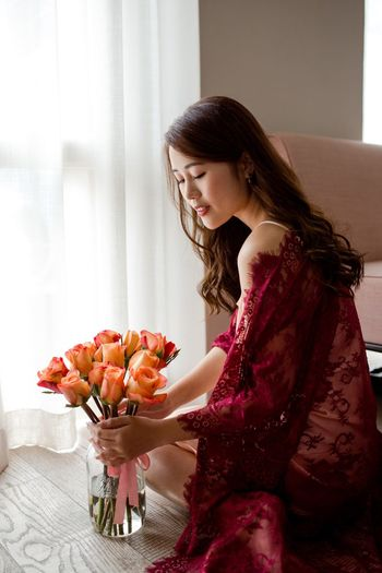 Portrait Of A Woman Lace Red Lace Romance Beauty Roses Flowers One Person Hairstyle Women Long Hair Indoors  Sitting Adult Lifestyles Hair Young Women Side View