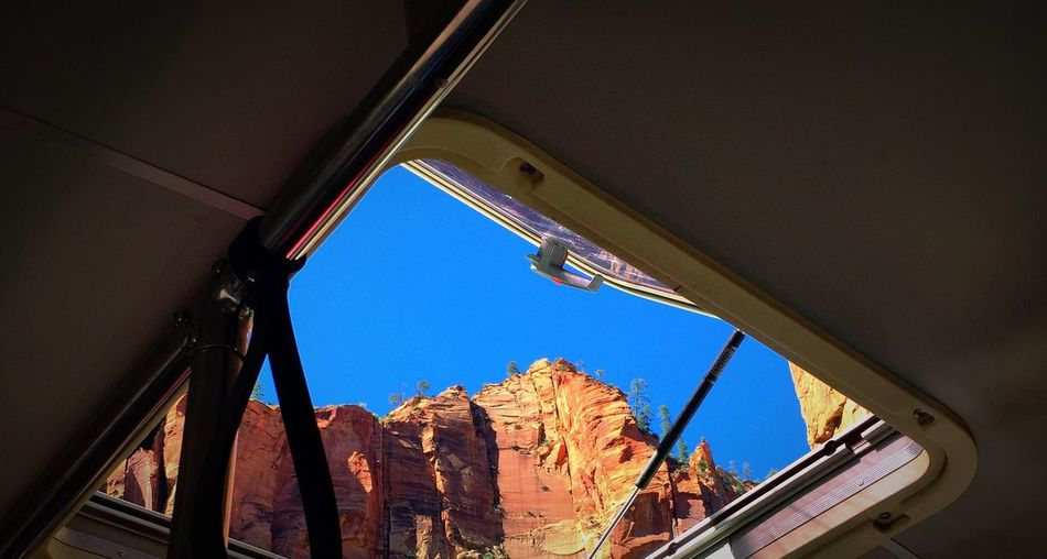 Montain  Blue Red Sky Sunroof Bus Zion