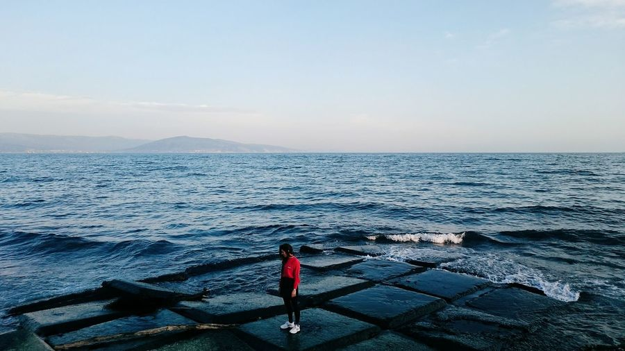 EyeEm EyeEm Best Shots EyeEm Nature Lover EyeEmBestPics Sea Black Sea Mountains Sky Red Blue Sky Waves Girl Showcase: February Q Landscape With Whitewall People And Places