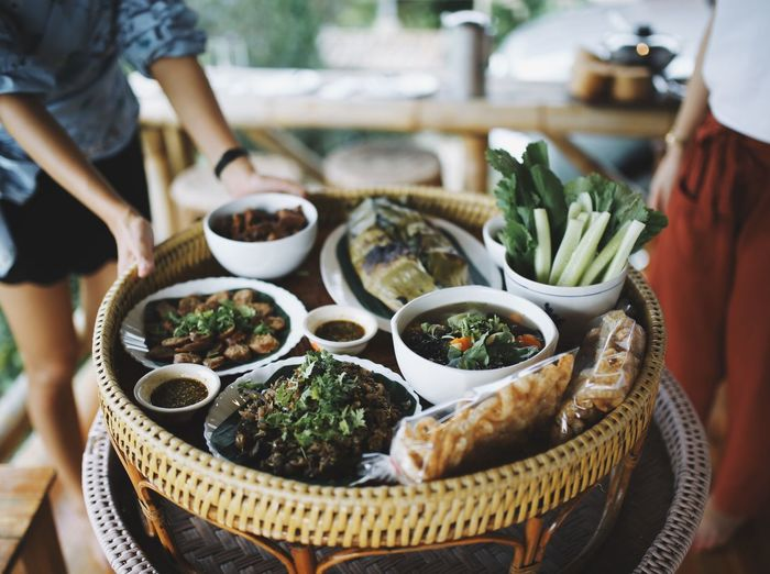 Kantoke Dinner Homemade Native Basket Cultures Focus On Foreground Food Food And Drink Healthy Eating Local Cuisine Local Food Traditional Vegetable