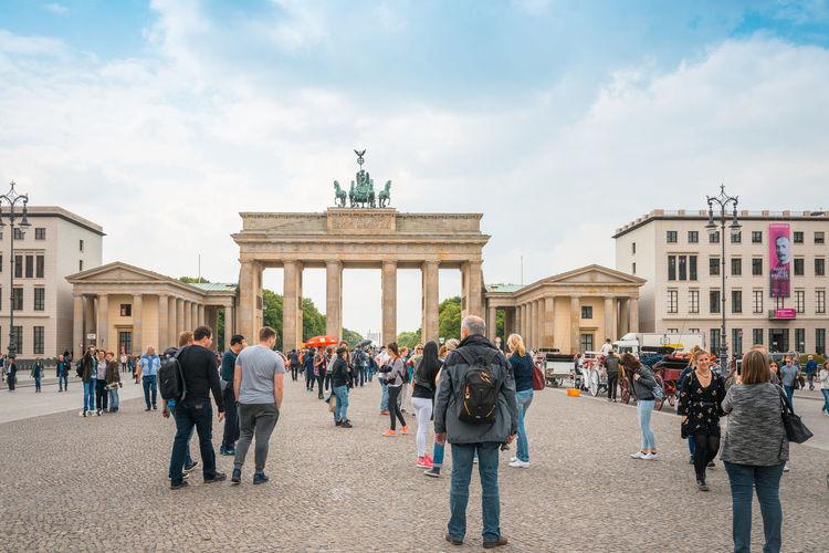 People against brandenburg gate