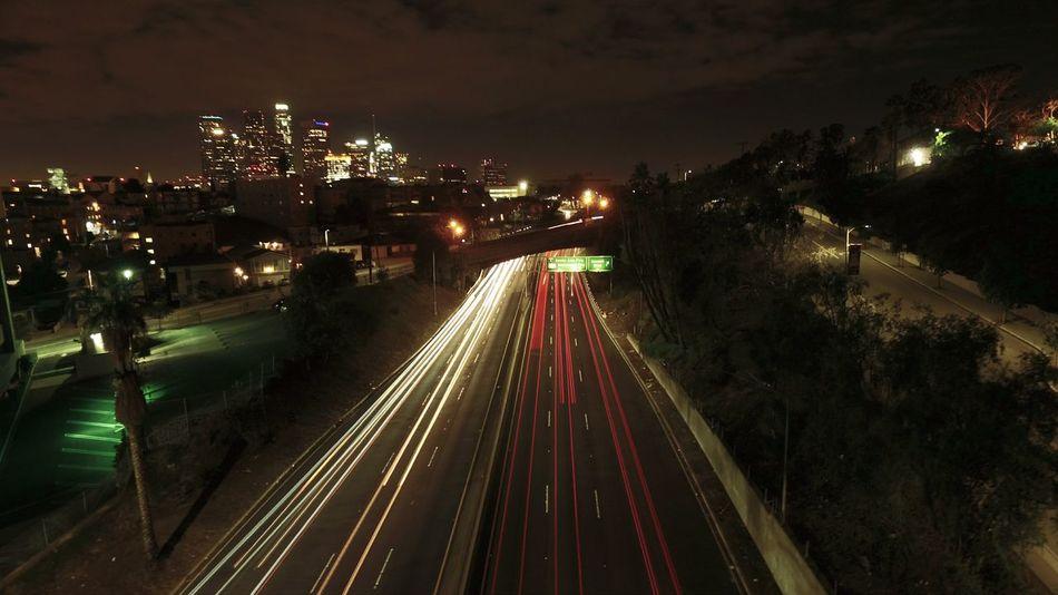 Night City Transportation Illuminated Traffic No People Cityscape The Way Forward City Outdoors California Aerial View Cali Dronephotography Aerial Shot City Life Sky Enjoying Life California Dreaming Cityofangles Downtown Los Angeles Staygolden High Angle View Road Famous Place