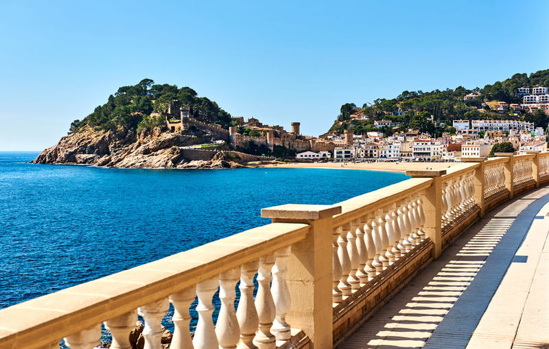 Scenic view of sea against clear sky at tossa de mar