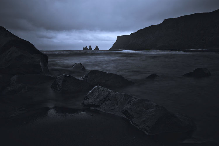 Vik Rock Water Sea Rock - Object Solid Beauty In Nature Land Beach Scenics - Nature Sky Tranquility Rock Formation Tranquil Scene Nature Cloud - Sky Non-urban Scene No People Day Outdoors Rocky Coastline Vik Iceland