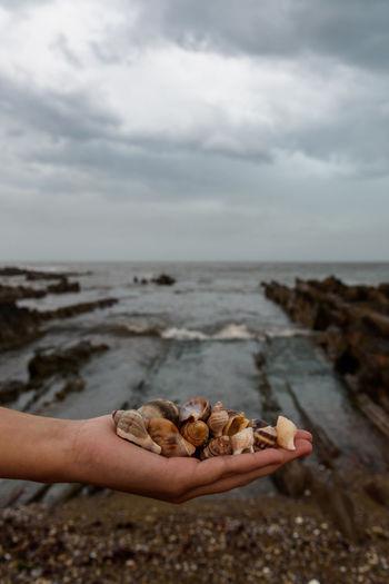 Pebbles on rocks at beach against sky