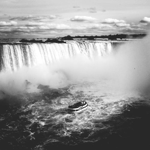 High Angle View Of Ferry Boat Sailing By Niagara Falls