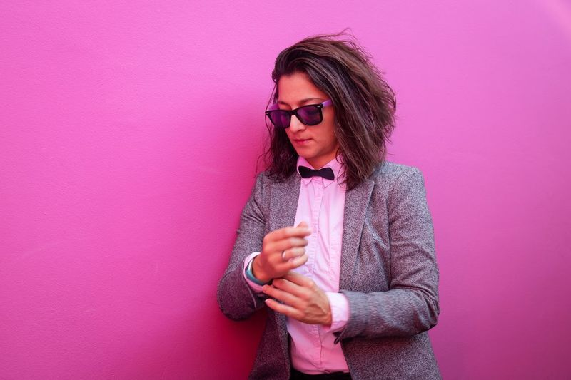 Pink Business Outfit Wall Glasses Fashion One Person Adult Pink Color Sunglasses Indoors  Young Adult Women Pink Background Hairstyle Eyeglasses  Clothing Purple Portrait Hair Hipster - Person Studio Shot