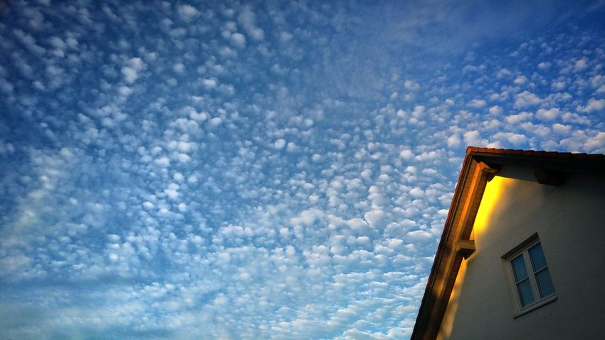 Morning Sky Beauty Of Clouds Cloud - Sky Sky View From A Window Nature No People Low Angle View Outdoors Beauty In Nature Nature Blue Neighborhood Tranquility