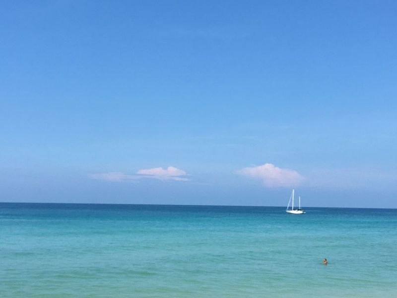 Sea Sea And Sky White Boat Tiny Humans Nature Phuket,Thailand Kata Beach Blue