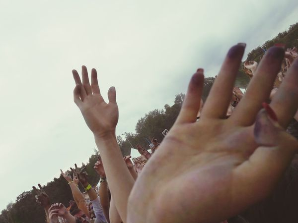 People Sky Day Outdoors Hands Hand In The Air Human Body Part Happiness Colour Of Life Colorful Colors Farbgefühle Festival Party - Social Event