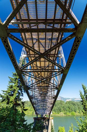 Low angle view of metal bridge against blue sky