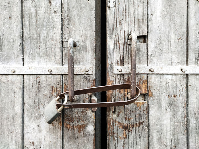 Close-up of old wooden door