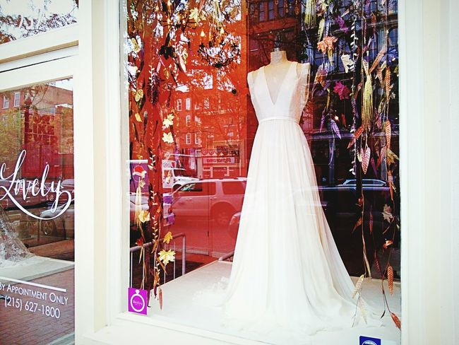 Window Clothing Glass - Material Large Group Of Objects Collection Wedding Dresses Store Front Window Display White Gown White Dress White