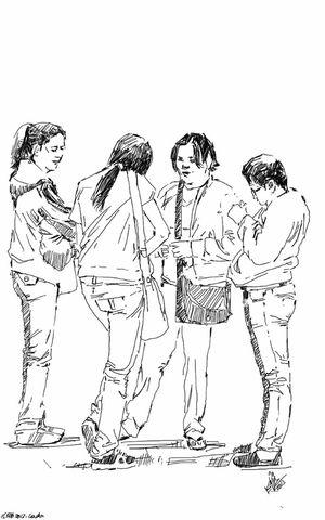 Street Meeting Friends People Sketch Group Kaay