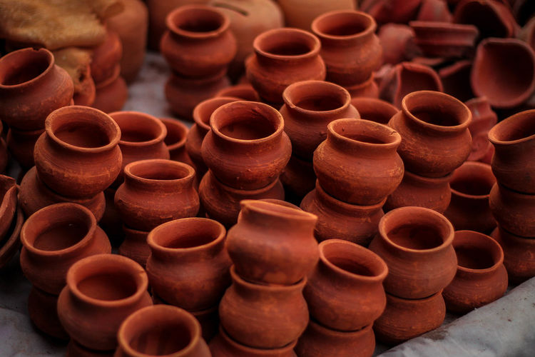 High Angle View Of Clay Pots