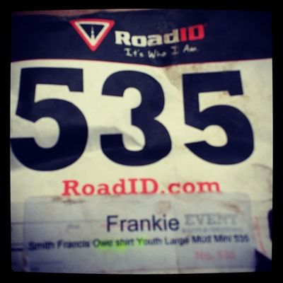 His runner bib has been through battle. lol