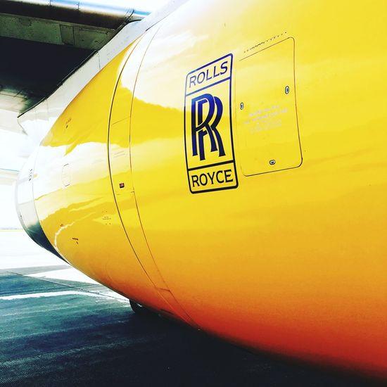 Turbine Yellow Close-up Aircraft Rolls Royce Outdoors Avionics