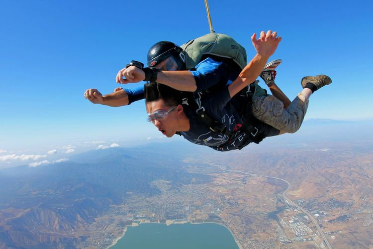 Old Picture Frindship Sky Diving South California Lake View Flying Time Need One More Time