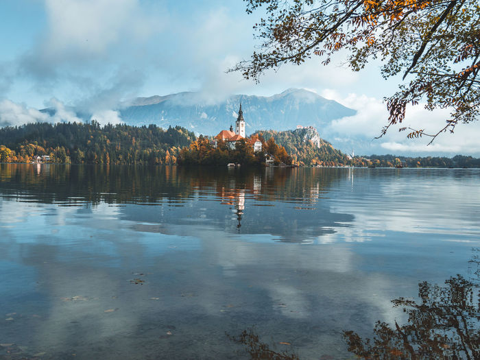 Scenic view of lake against sky in bled, slovenia