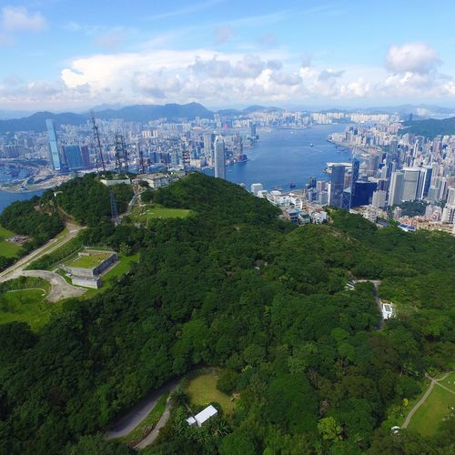 Drone flying through Hong Kong Peak Phantom Drone