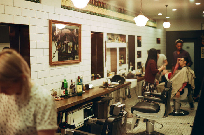 Adult Barbershop Day Drink Film Film Is Not Dead Film Photography Friendship Horizontal Indoors  Kodak Lifestyles People Reflection Refreshment Table Working
