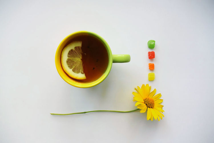 Yellow table against white background