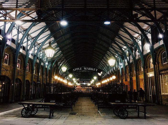 View of illuminated corridor