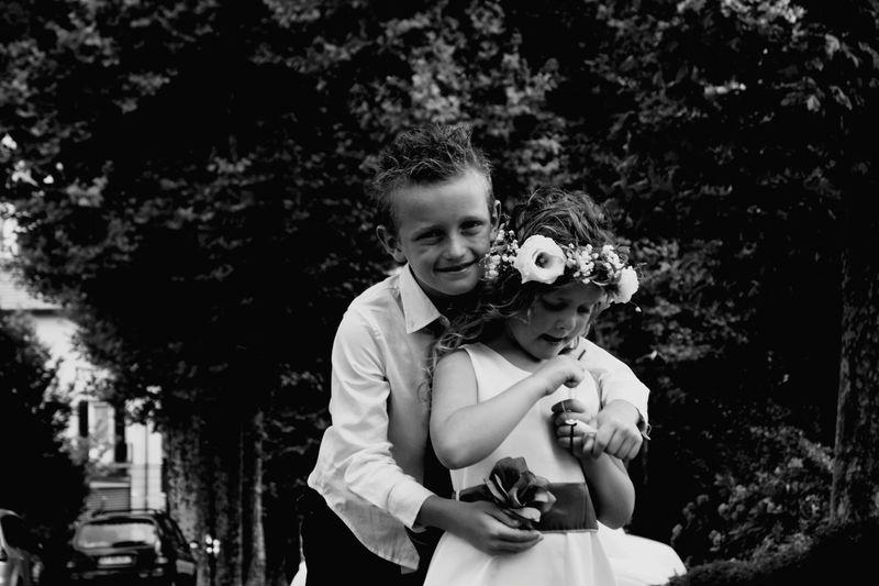 Wedding and flower girl