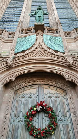 Liverpool Cathedral Built Structure Architecture No People Architecture And Art Iornman Wreath Christmas Christmas Time Statue Sandstone Stained Glass Pattern Stained Glass Window Green Doorway Entrance