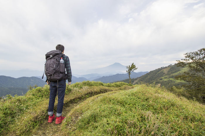 Adventure Backpack Backpacker Beauty In Nature Cloud - Sky Exploration Freedom Hiking Hiking Japan Landscape Men Mountain Mtfuji Nature One Person Outdoors People Pick Travel Trek