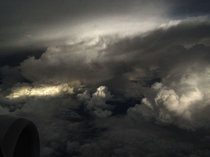 Aerial view of storm clouds in sky