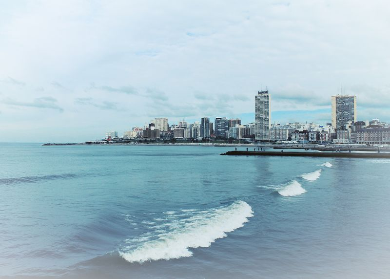 Mar Del Plata  Buenos Aires Argentina Beach Sea Blue Invierno Walk By The Sea
