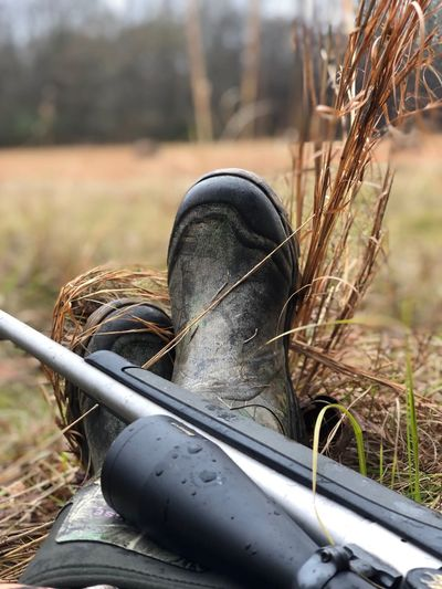 Hunting Boots Rifle Hunting Day Nature Focus On Foreground Field Land No People Outdoors Sunlight Close-up Selective Focus