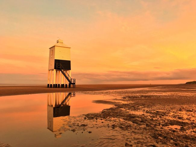 High By The Beach... Beach Somerset England Somerset Lighthouse_lovers Lighthouse Sunset Water Sea Beach Tranquil Scene Horizon Over Water Tranquility