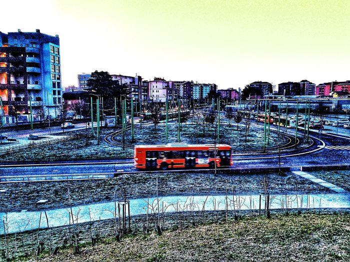 Urban Skyline Morning Bus Station Public Transportation Winter