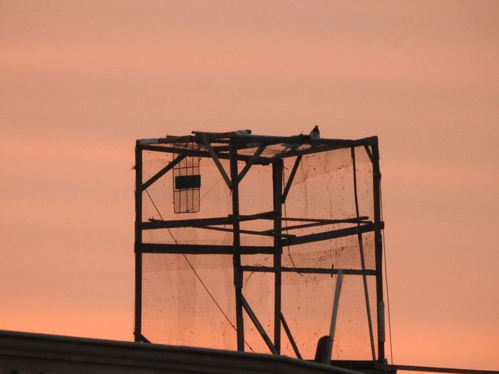 Bird cage on top of a building
