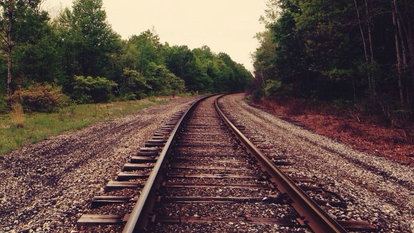 Railroad tracks 💕 Rail Transportation Railroad Track Transportation Outdoors Day No People Let's Go. Together.