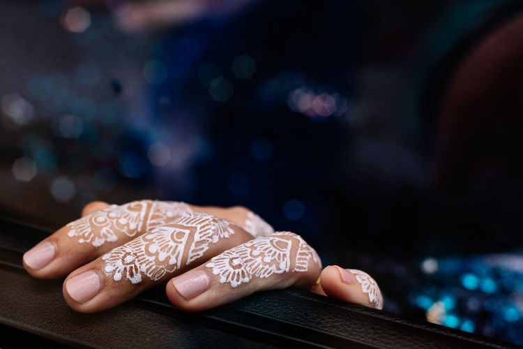 Adult Body Part Close-up Creativity Finger Fingernail Floral Pattern Focus On Foreground Hand Henna Henna Tattoo Human Body Part Human Finger Human Hand Indoors  Jewelry Manicure Nail One Person Ornate Pattern Real People Tattoo Women Capture Tomorrow