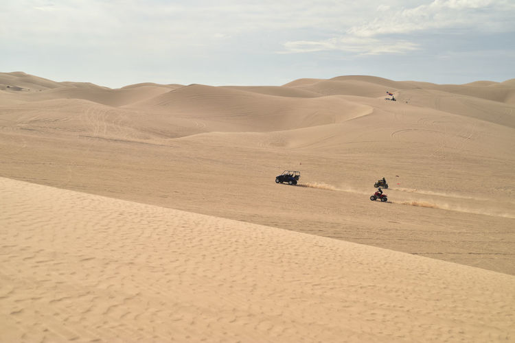 ATV off-road All Terrain Vehicles driving over the sand dunes for entertainment and recreation Off Road Driving All Terrain Vehicle Atv Desert Dunes Entertainment Razer Recreation Area Recreational Pursuit Sand Dunes