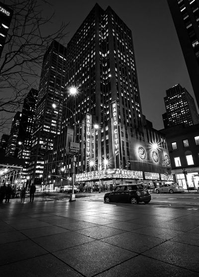 Radio City Light Blackandwhite Night Lights New York City Building Exterior Architecture Built Structure Illuminated Night City Skyscraper