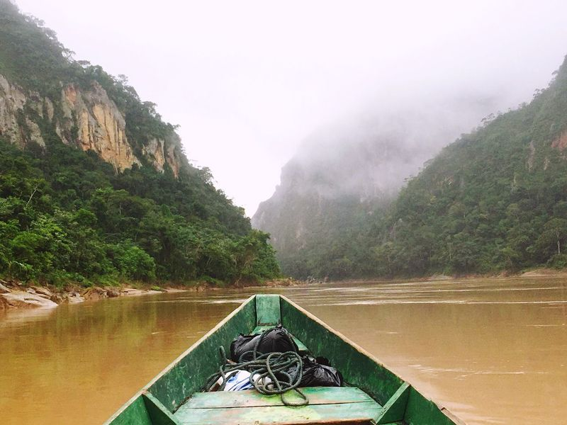 Boat ride to the jungle Water Nature Beauty In Nature Tranquility River No People Idyllic Wooden Raft Fog Jungle Bolivian Jungle