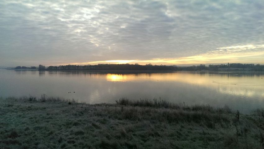 🌞 ⛅ Pitsford Reservoir Frosty Water Reflections Sunrise Trees 43 Golden Moments Clouds And Sky Grass Early Morning Orange Reflection In The Water Grey Orange